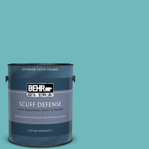 Behr Ultra 1 Gal 510d 5 Surfer Extra Durable Satin Enamel Interior Paint Primer 775401 The Home Depot