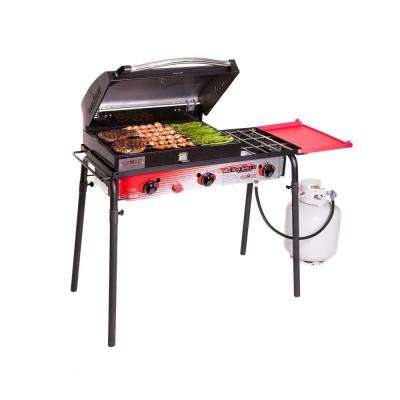 Big Gas 3-Burner Portable Propane Gas Grill in Red