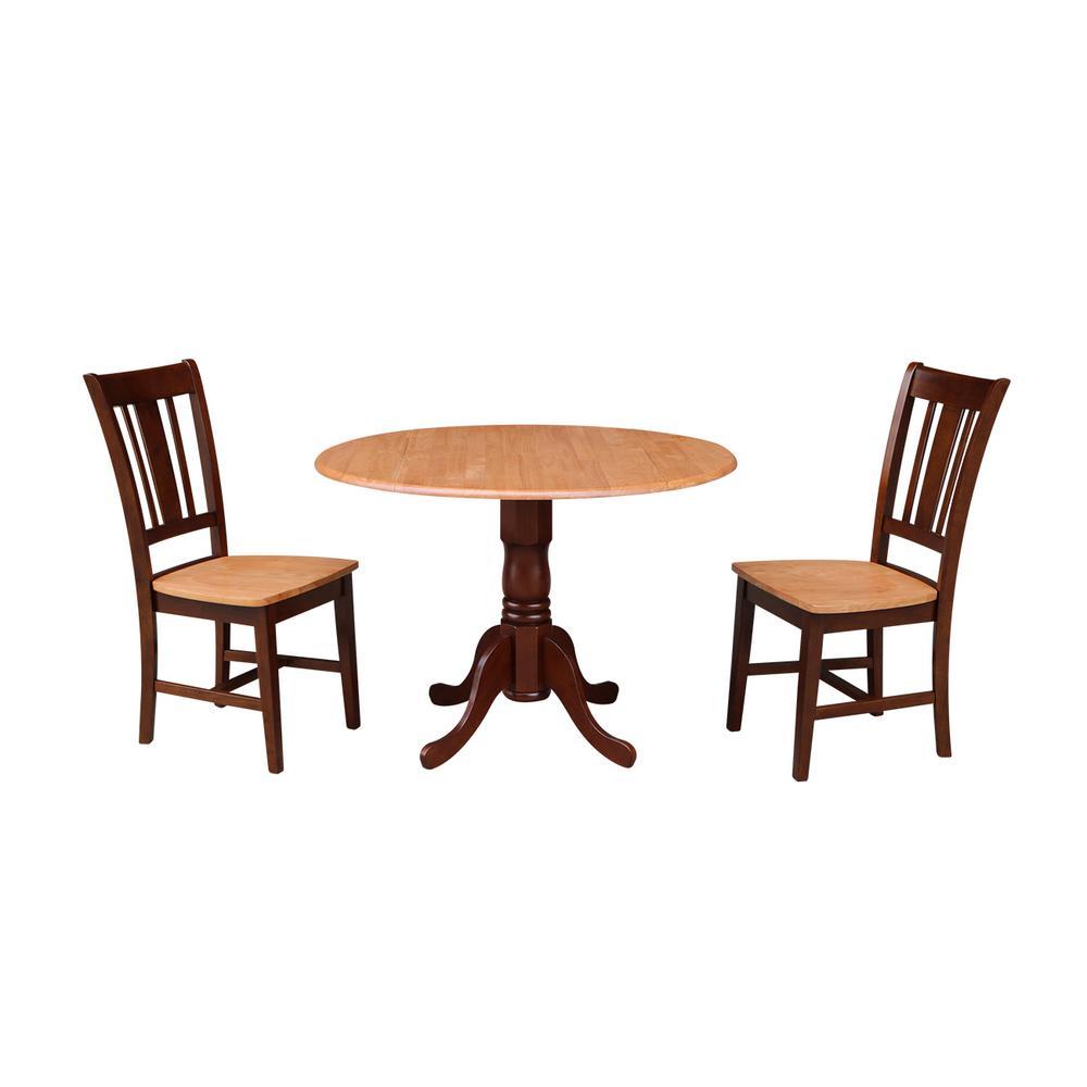 Brynwood 3-Piece 42 in. Cinnamon/Espresso Round Drop-Leaf Wood Dining Set with San Remo Chairs