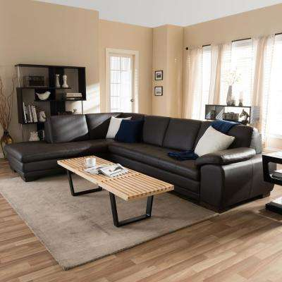 Diana 2-Piece Contemporary Brown Faux Leather Upholstered Left Facing Chase Sectional Sofa : leather sectional living room furniture - Sectionals, Sofas & Couches