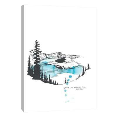 12 in. x 10 in. ''Nation Park Crater Lake'' Printed Canvas Wall Art