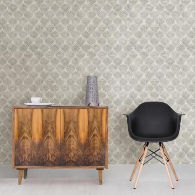 Bowery Silver Ogee Silver Wallpaper Sample