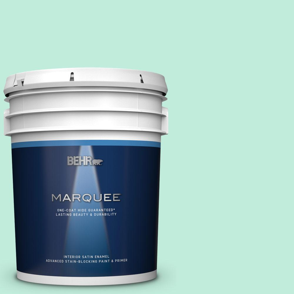 BEHR MARQUEE 5 gal. #470A-2 Seafoam Pearl Satin Enamel Interior Paint and Primer in One