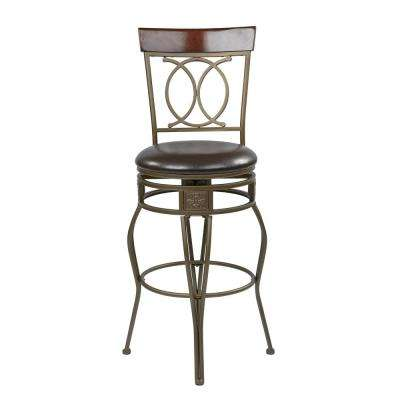 30 in. Espresso Faux Leather Cosmo Metal Swivel Barstool Seat
