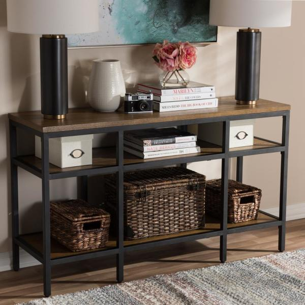 Baxton Studio Caribou ''Oak'' Brown and Black Console Table 28862-7611-HD