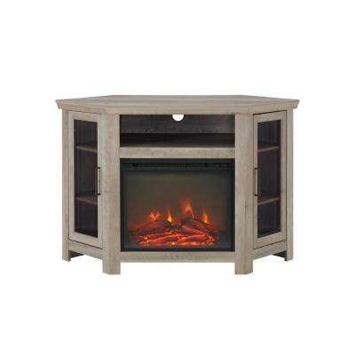 52 in. Grey Wash Classic Traditional Wood Corner Fireplace Media TV Stand Console