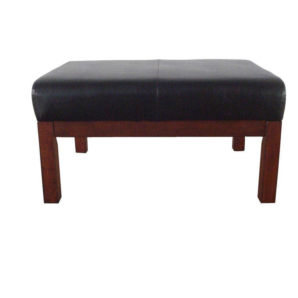 Carolina Cottage Mission Brown Leatherette Ottoman-DISCONTINUED