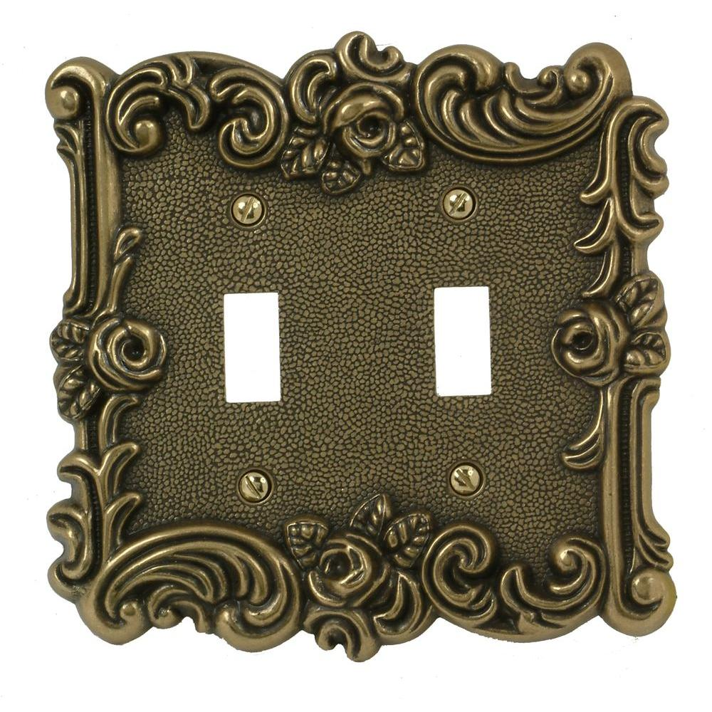 Amerelle Provincial 2 Toggle Wall Plate, Antique Brass
