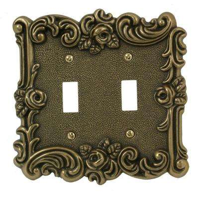 Provincial 2 Toggle Wall Plate, Antique Brass