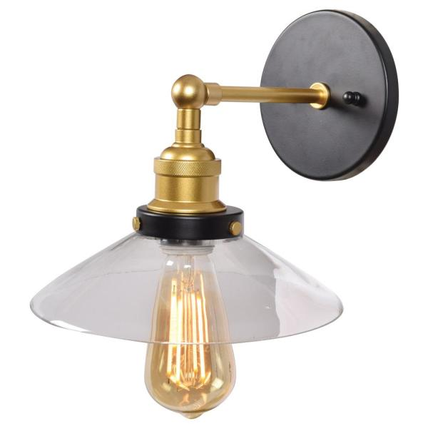 District Black and Gold LED Wall Sconce with Clear Glass Shade