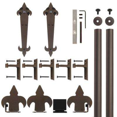 Fleur-De-Lis Non-Hammered Oil Rubbed Bronze Rolling Door Hardware Kit for 1-1/2 in. to 2-1/4 in. Door