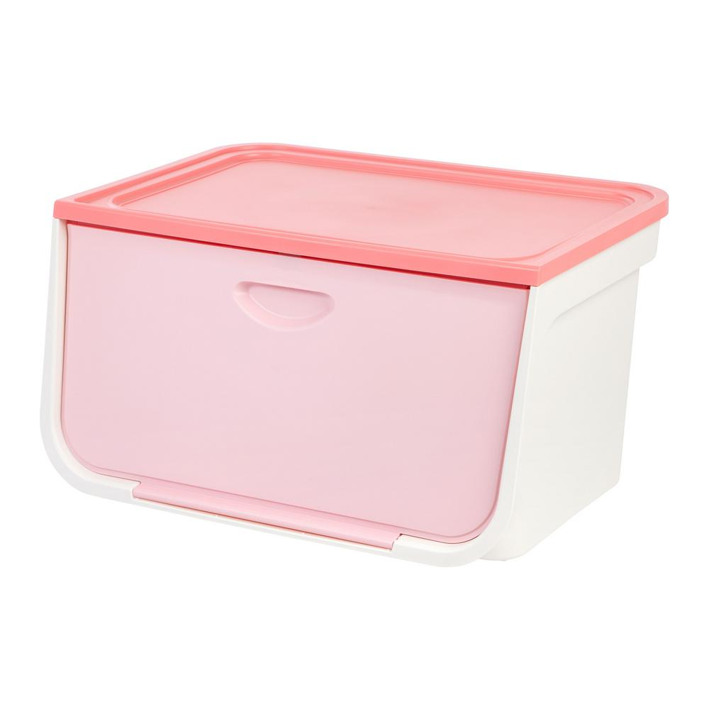 IRIS 49 Qt Large Flap Storage Box in White and Pink 586913 The