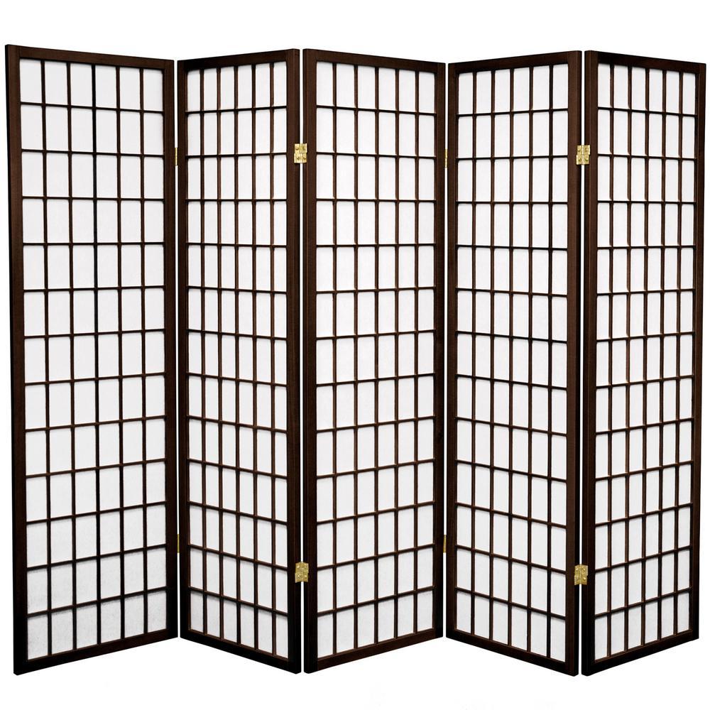 5 ft. Walnut 5-Panel Room Divider