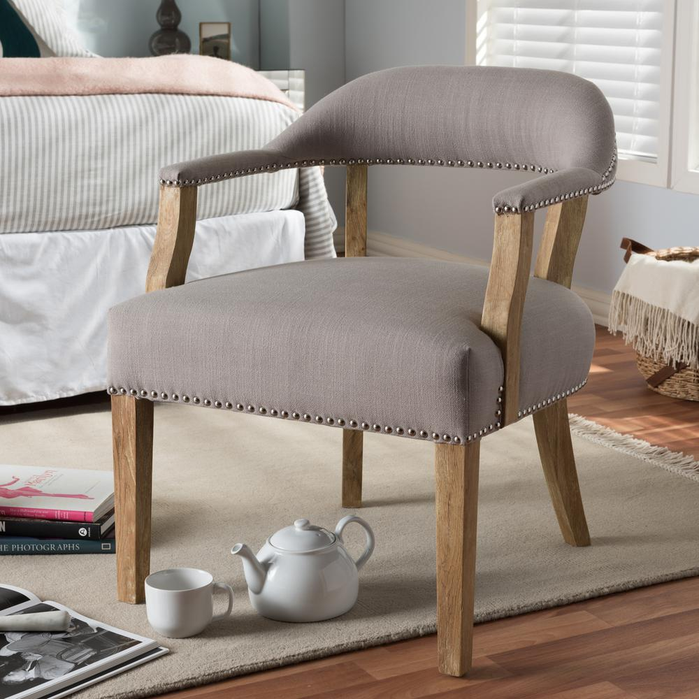 Baxton Studio Macee Beige Fabric Upholstered Accent Chair