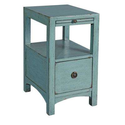 Waves Texture Blue 1-Drawer Accent Table