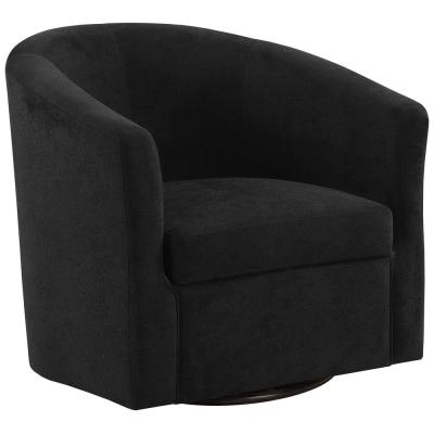 Black Abstract Velvet Accent Chair