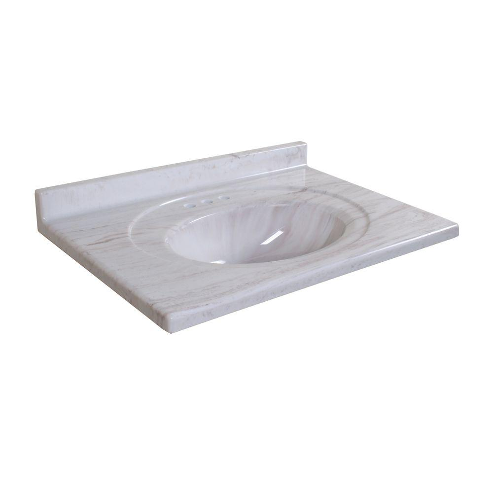 Glacier Bay Windsor 31 in. AB Engineered Composite Vanity Top with Basin in Light Coco