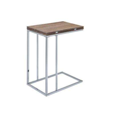 Weathered Oak and Chrome Denson Side Table