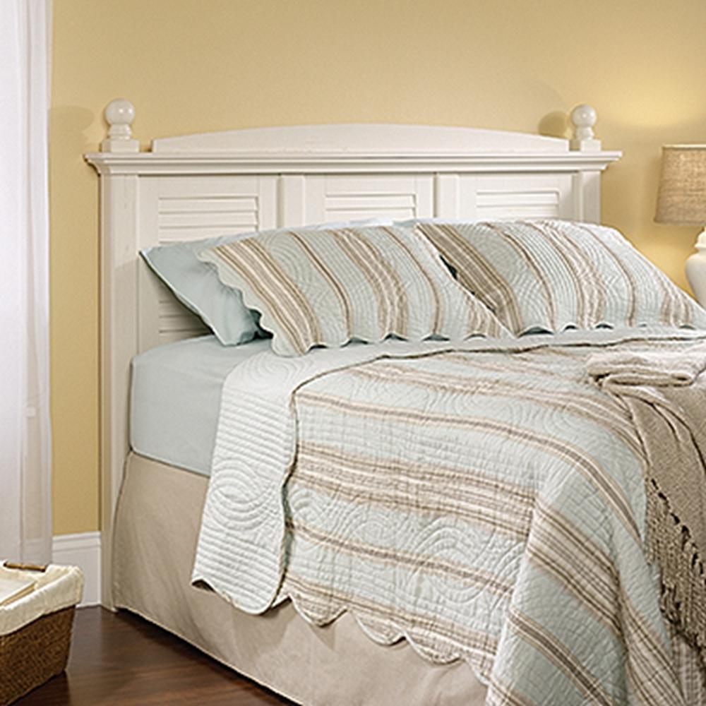 Harbor View Antiqued White Full Queen Headboard. SAUDER Carson Forge Coffee Oak Full Queen Headboard 419887   The
