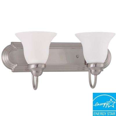 2-Light Brushed Nickel Fluorescent Wall Vanity Light