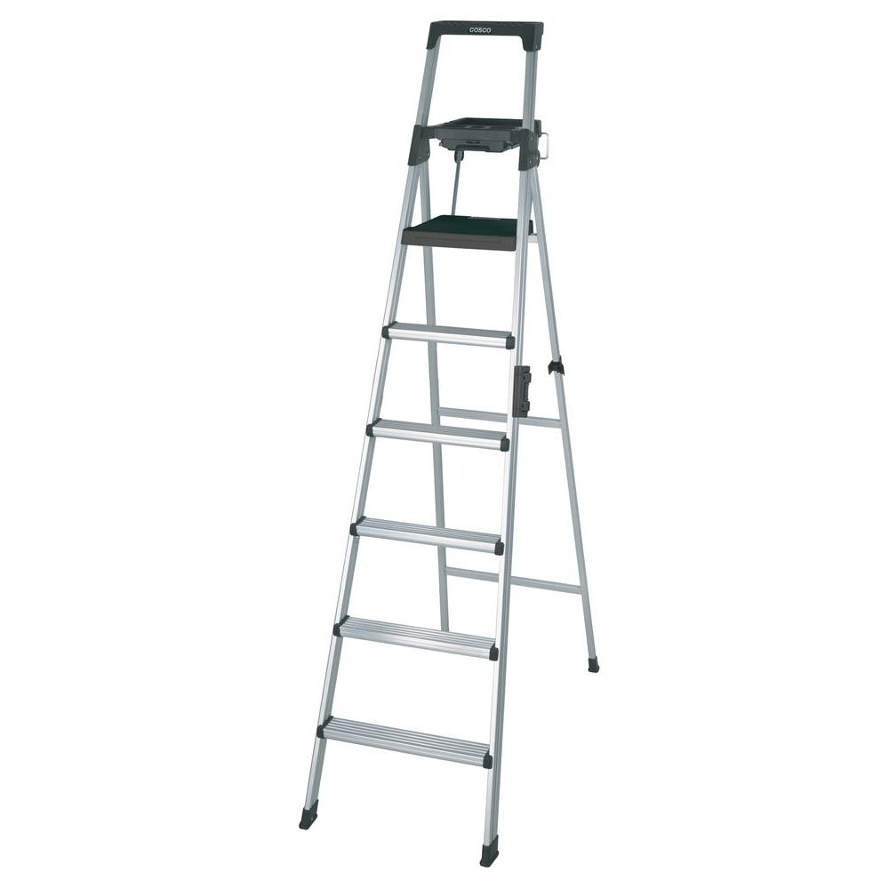cosco signature series 8 ft premium aluminum step ladder 2081aabld the home depot. Black Bedroom Furniture Sets. Home Design Ideas
