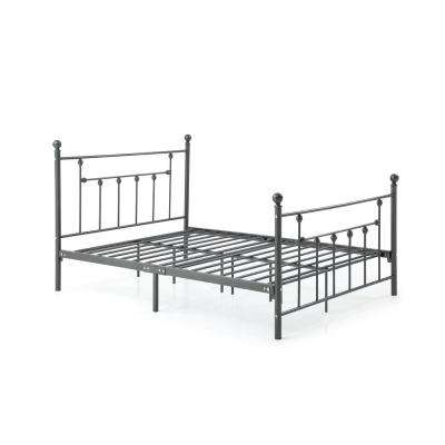 Complete Metal Charcoal Twin Bed with Headboard, Footboard, Slats and