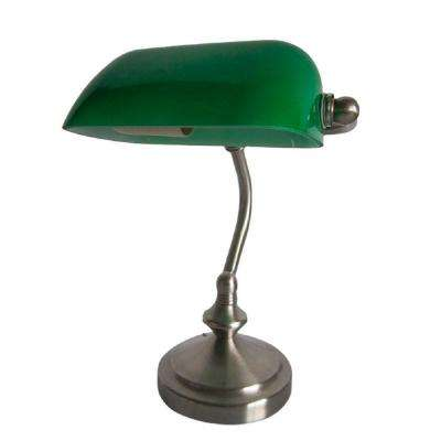 9.90 in. Traditional Green Mini Banker's Lamp with Glass Shade