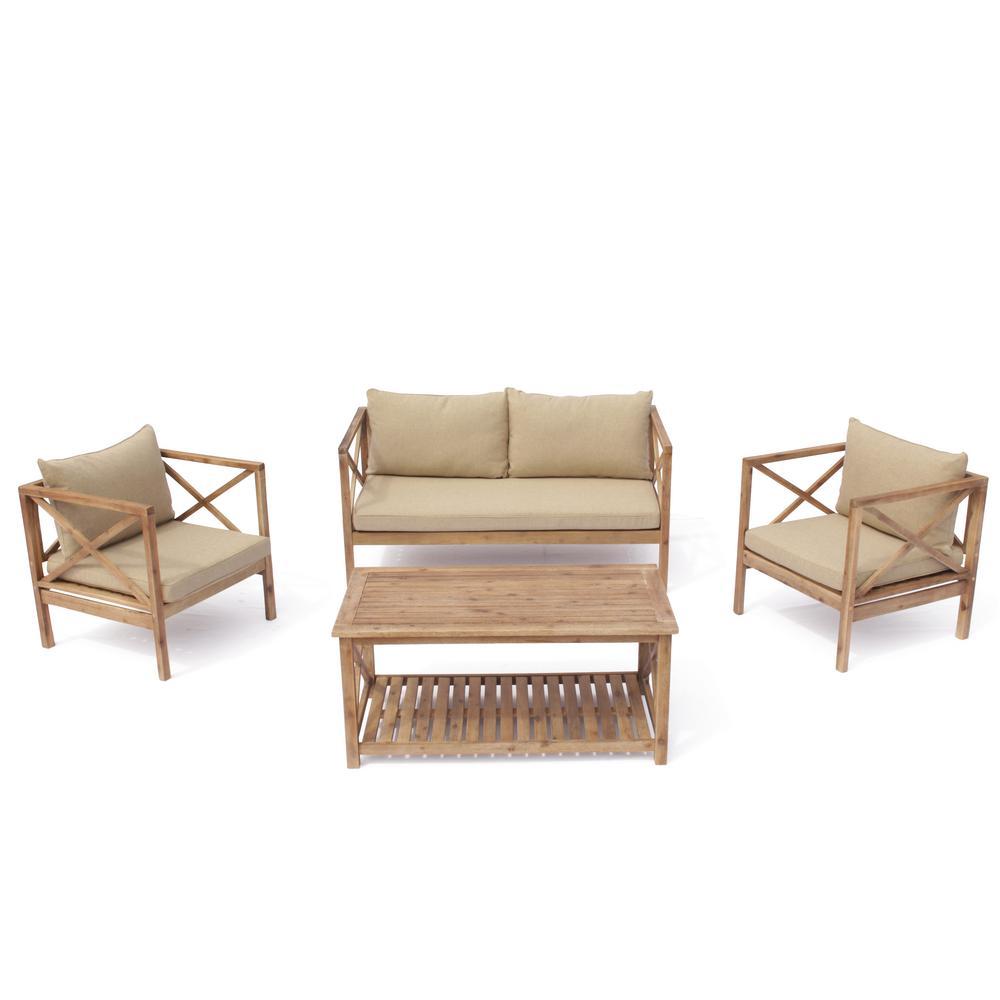 Burbank 4 -Piece Wood Outdoor Sofa Set with Beige Cushions
