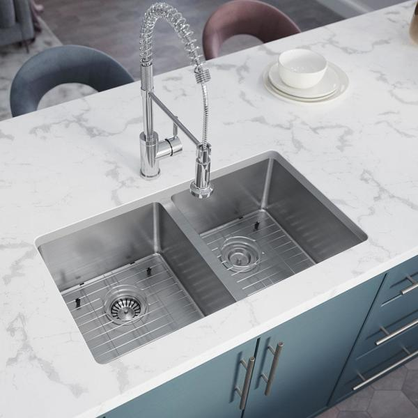 Stainless Steel 31 in. Double Bowl Undermount Kitchen Sink with Gray SinkLink and additional accessories