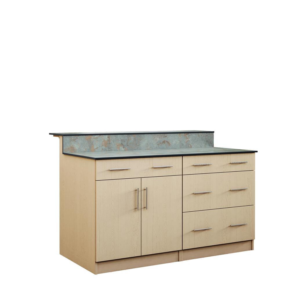 Weatherstrong Miami 59 5 In Outdoor Bar Cabinets With Countertop 2 Door And 2 Drawer In Sand