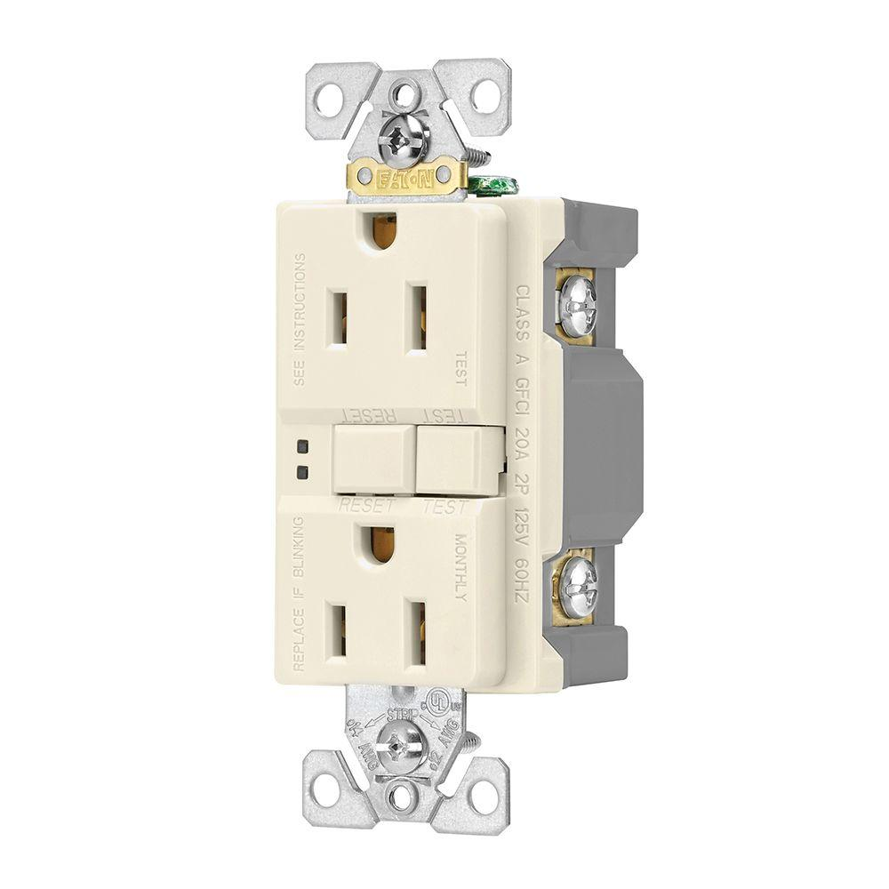 Eaton Electrical Outlets Receptacles Wiring Devices Light Residential Switch Gfci Self Test 15a 125v Duplex Receptacle Almond 3 Pack