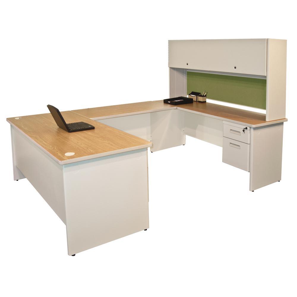 oak desks for home office. 8 Ft. 6 In. W X D Putty And Peridot U Oak Desks For Home Office A
