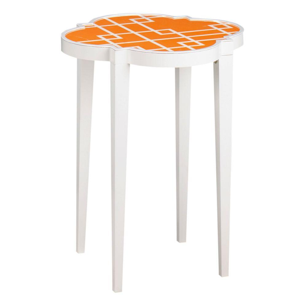 Home Decorators Collection 24 in. H Loft Orange Patterned Accent Table