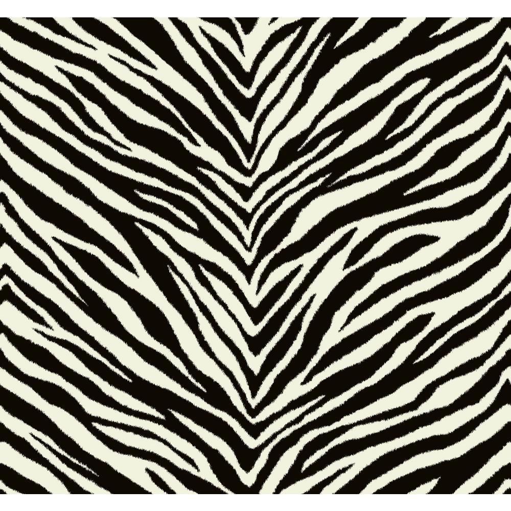 Zebra Chevron Black and White Animal Print Strippable Wallpaper