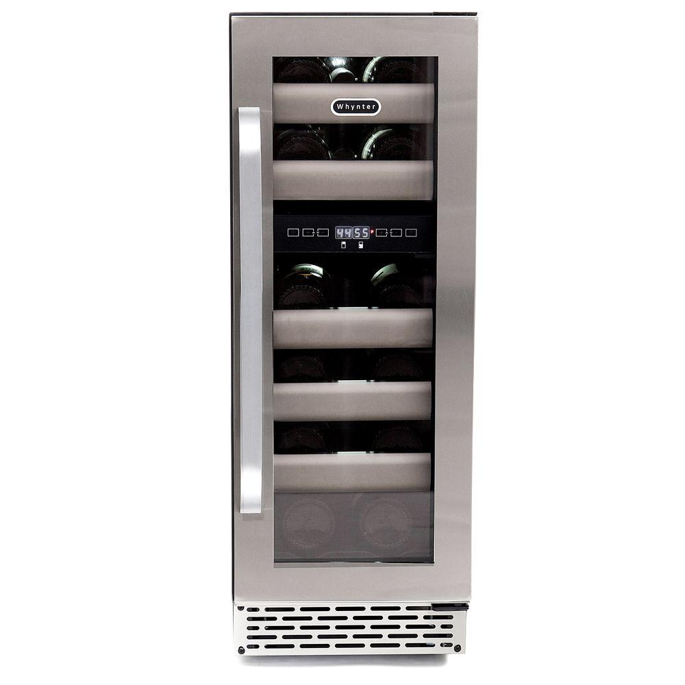 Whynter Elite 17-Bottle Seamless Stainless Steel Door Dual Zone Built-In Wine Refrigerator