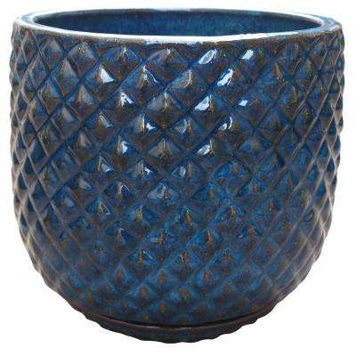 18 in. Pinequilt Blue Ceramic Pot