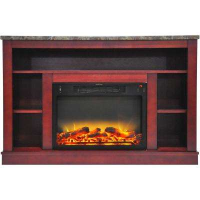 Oxford 47 in. Electric Fireplace with Enhanced Log Insert and Cherry Mantel