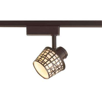 LED Removable Basket Antique Bronze Linear Track Lighting Head with White Glass Shade