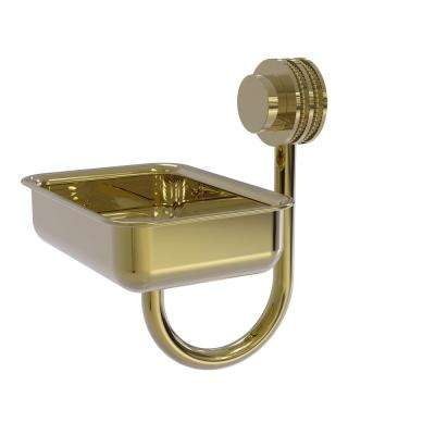 Venus Collection Wall Mounted Soap Dish with Dotted Accents in Unlacquered Brass
