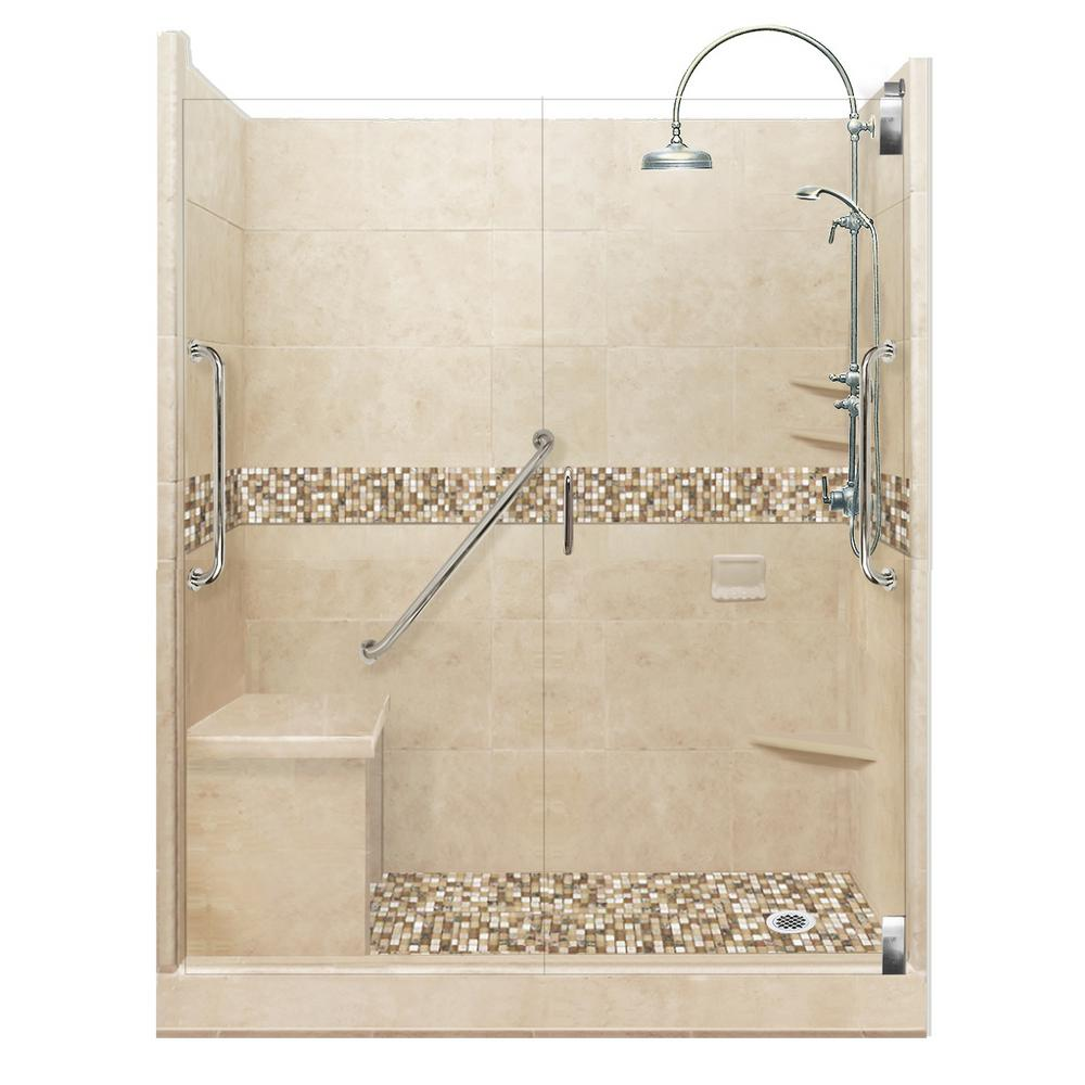 American Bath Factory Roma Freedom Luxe Hinged 32 in. x 60 in. x 80 in. Right Drain Alcove Shower Kit in Brown Sugar and Chrome Hardware