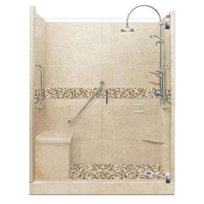 Roma Freedom Luxe Hinged 42 in. x 60 in. x 80 in. Right Drain Alcove Shower Kit in Brown Sugar and Satin Nickel Hardware