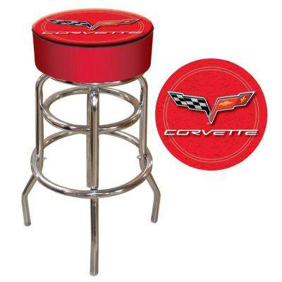 Corvette C6 31 in. Chrome Swivel Cushioned Bar Stool
