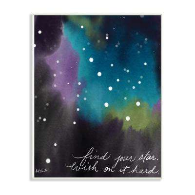 "12.5 in. x 18.5 in. ""Find Your Star Blue Purple and Green Sky Watercolor Space"" by Katie Doucette Wood Wall Art"
