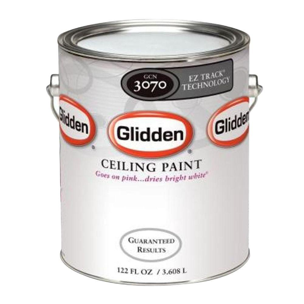 Glidden Premium Ceiling 1 Gal. Bright White Interior Flat EZ Track Ceiling  Paint GCN3070 01   The Home Depot
