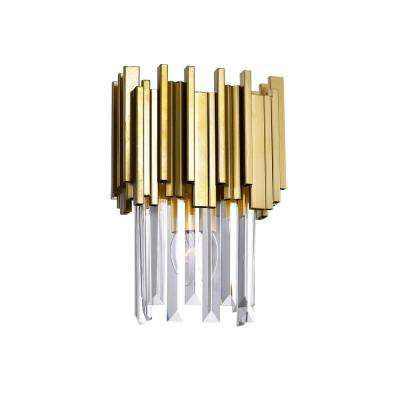 Deco Collection 8 in. Medallion Gold Sconce