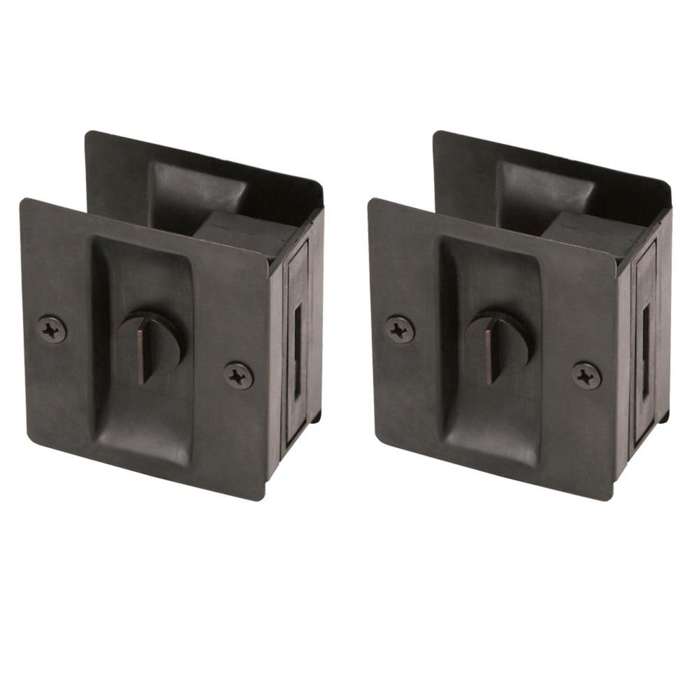 Oil-Rubbed Bronze Pocket Door Privacy Hardware (2 per Pack)
