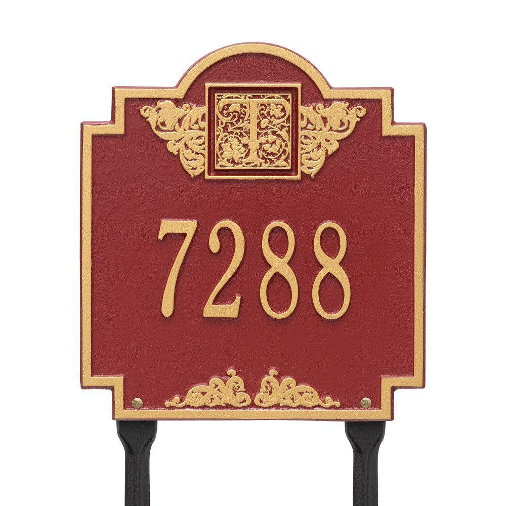 Monogram Standard Lawn Square Red/Gold 1-Line Address Plaque
