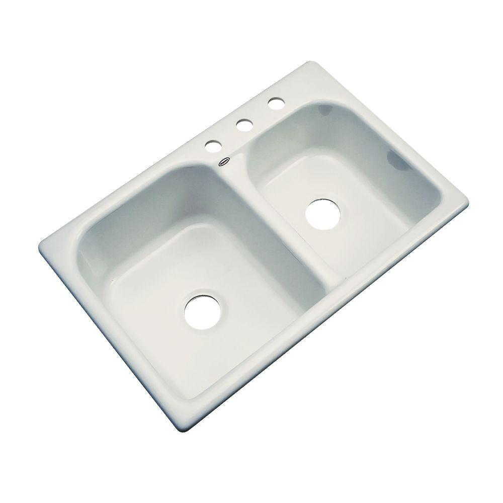 Thermocast Cambridge Drop-In Acrylic 33 in. 3-Hole Double Basin Kitchen Sink in Tender Grey