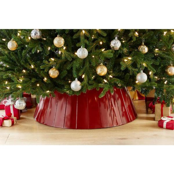 Home Accents Holiday 27 In D Red Metal Christmas Tree Collar 4040577 The Home Depot