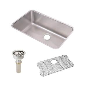 Lustertone Undermount Stainless Steel 31 in. Single Bowl Kitchen Sink with Drain and Bottom Grid